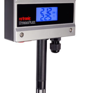HF1 Duct Mount Humidity and Temperature transmitter Angle View with Display